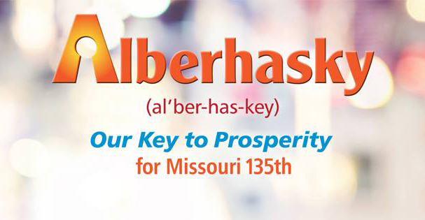 Alberhasky 'Our Key to Prosperity' campaign banner for Missouri 135th in 2016
